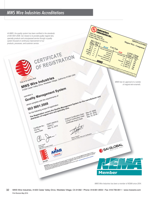 MWS Wire Industries Accreditations